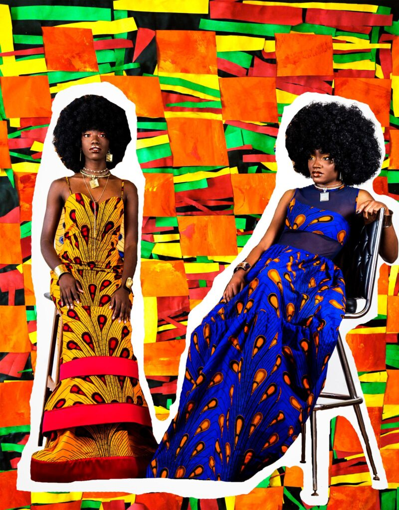 Fashion editorial of two Black women against a multicolored background.