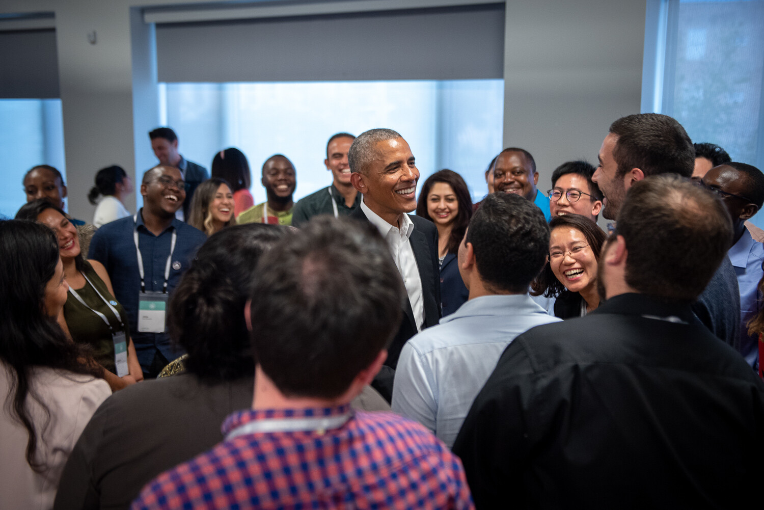 President Barack Obama talks with the inaugural class of Obama Scholars during their program kickoff retreat in Chicago, IL on Tuesday August 28, 2018.