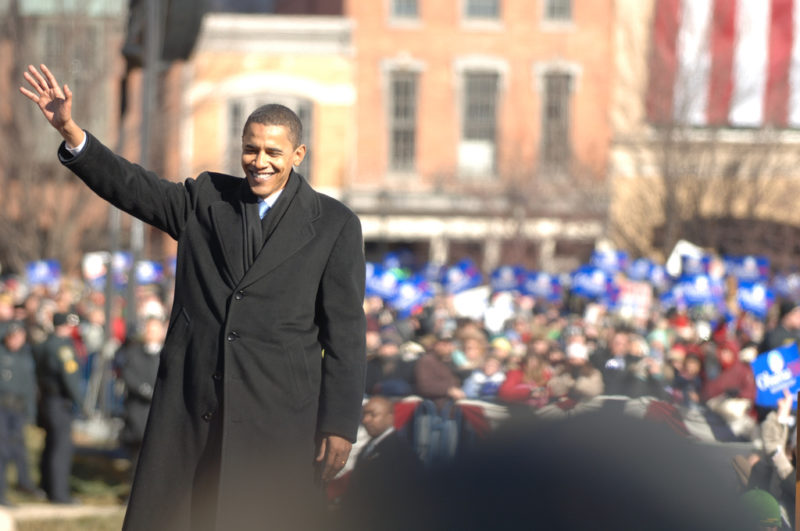 President Obama waves to crowd on a sunny morning in Springfield, IL.