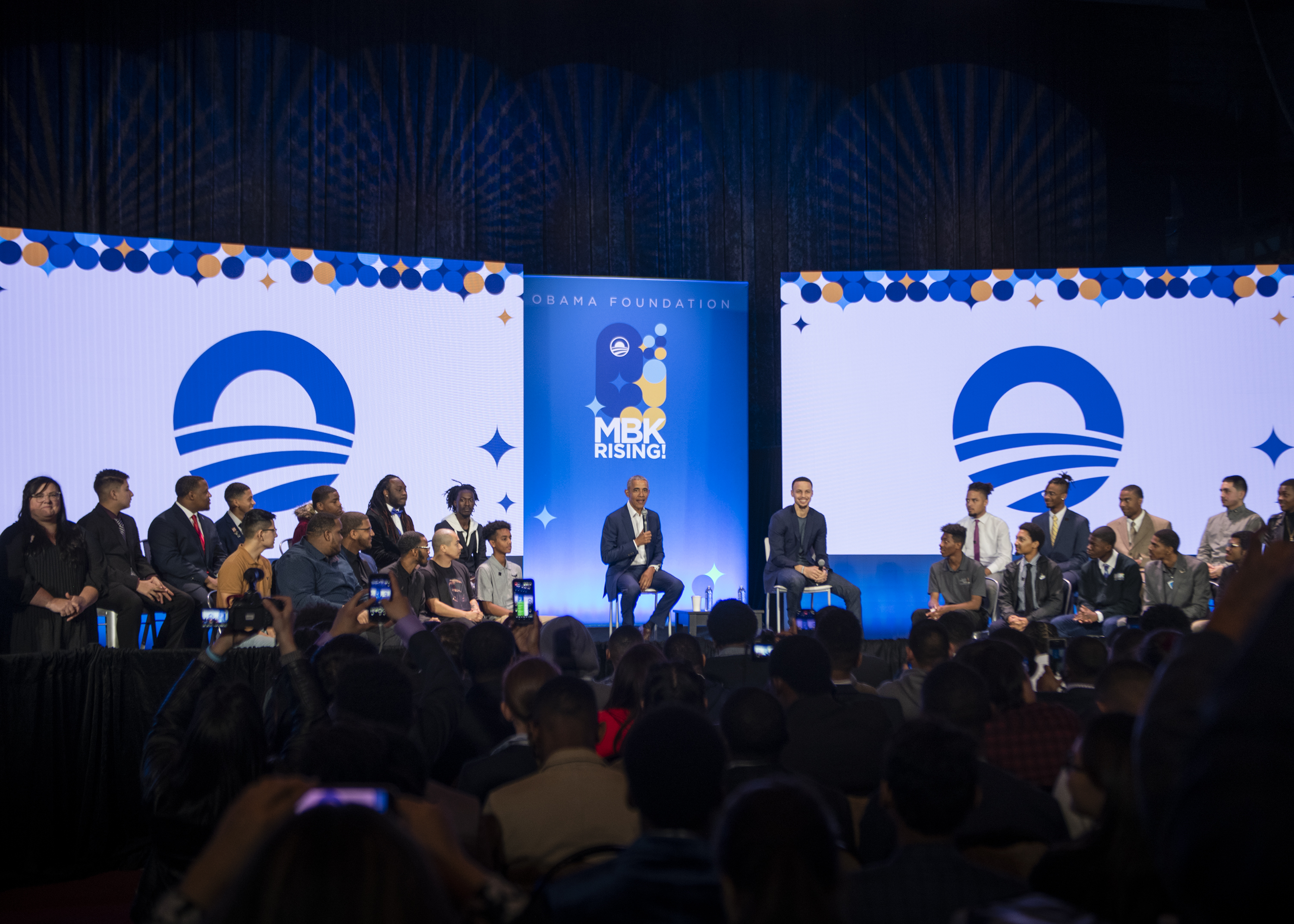 President Obama joins Stephen Curry and a group of young men at MBK Rising! for a mainstage conversation.