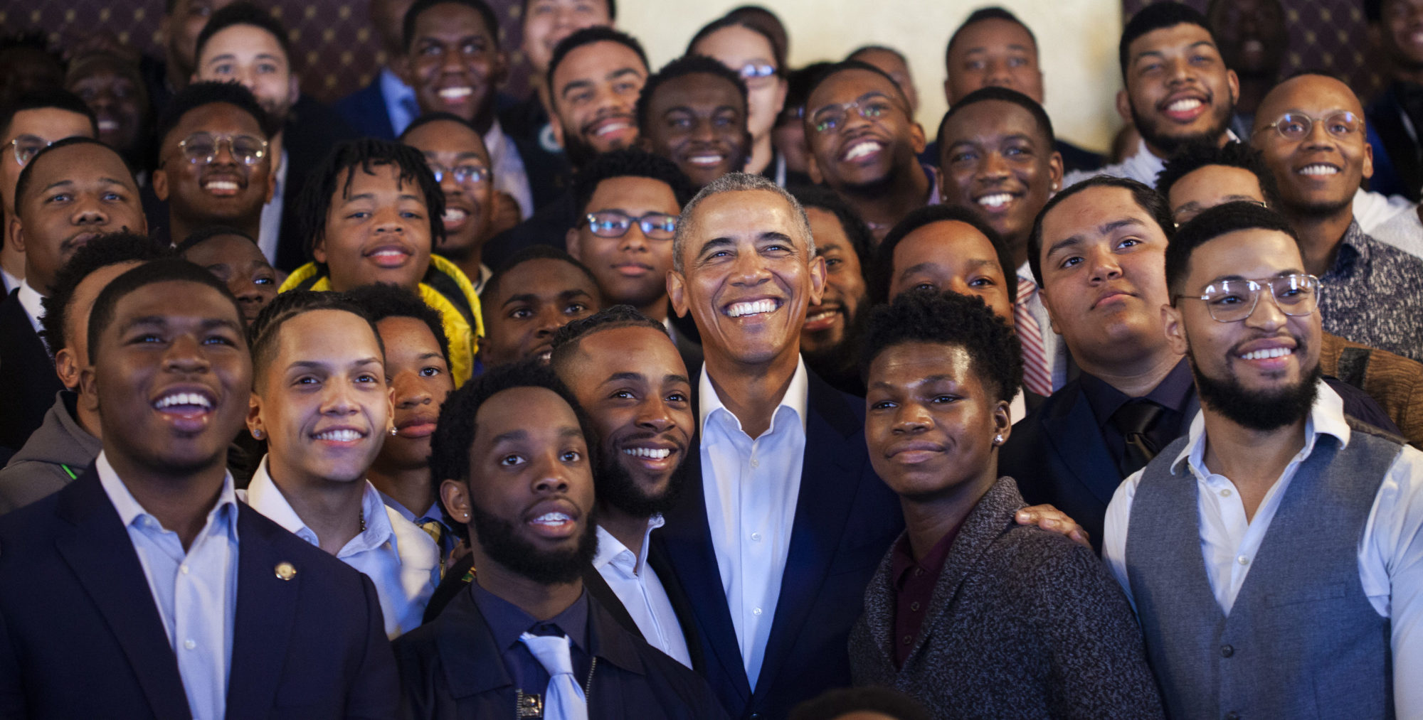 President Obama poses with young participants at MBK Rising! in Oakland.