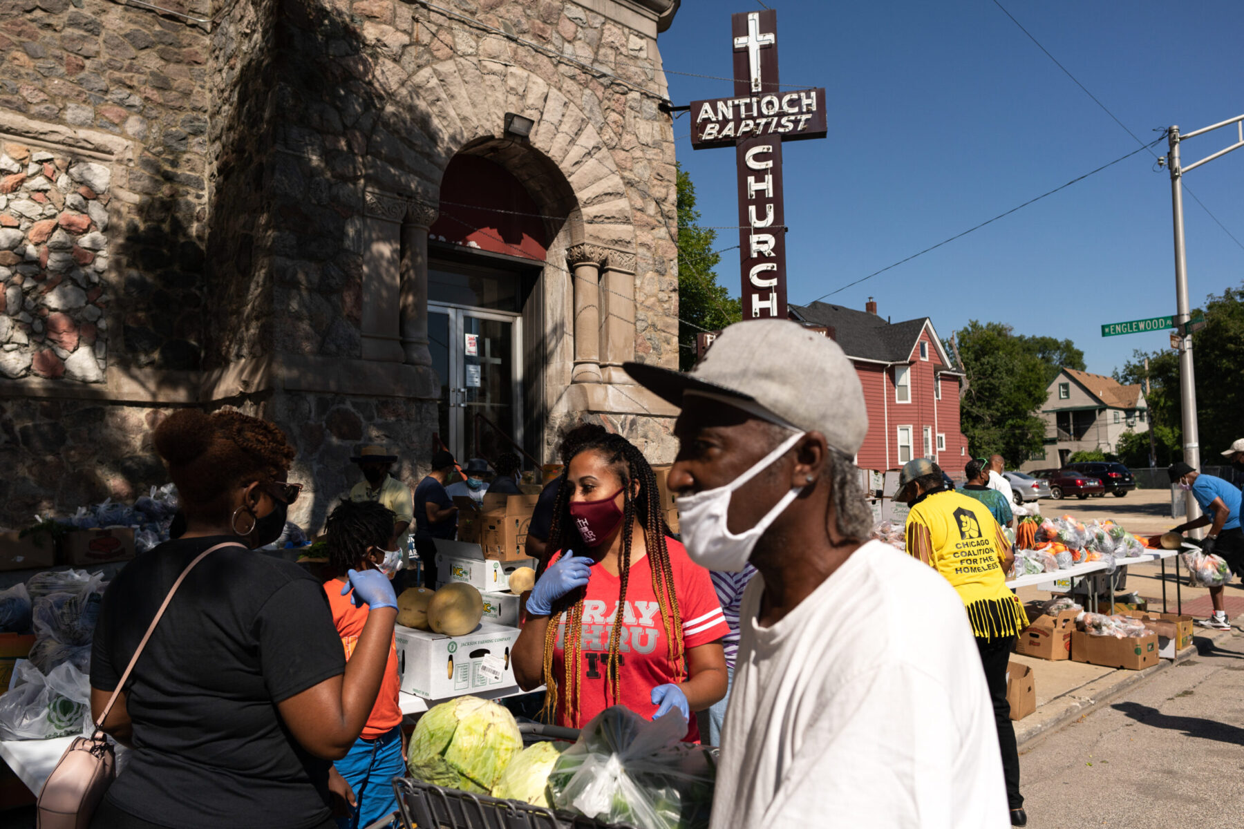 Pastor Tracey Lee and team providing supplies