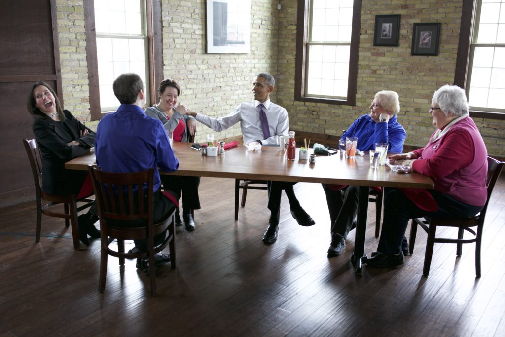 President Barack Obama has lunch with Affordable Care Act (ACA) letter writers atEngine Company N 3 restaurant in Milwaukee, Wisconsin, March 3, 2016.