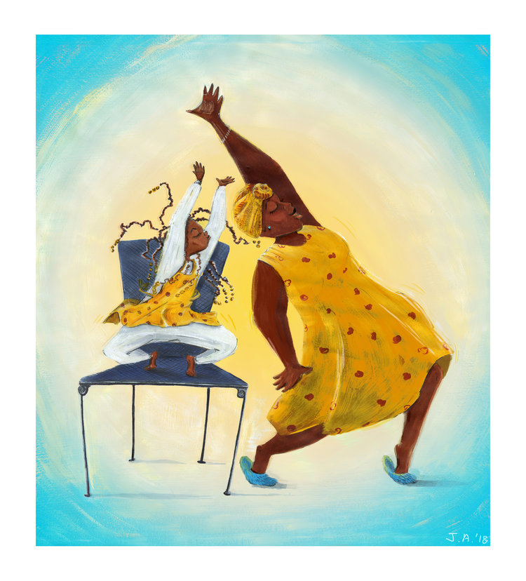 An illustrated woman and girl dance together.