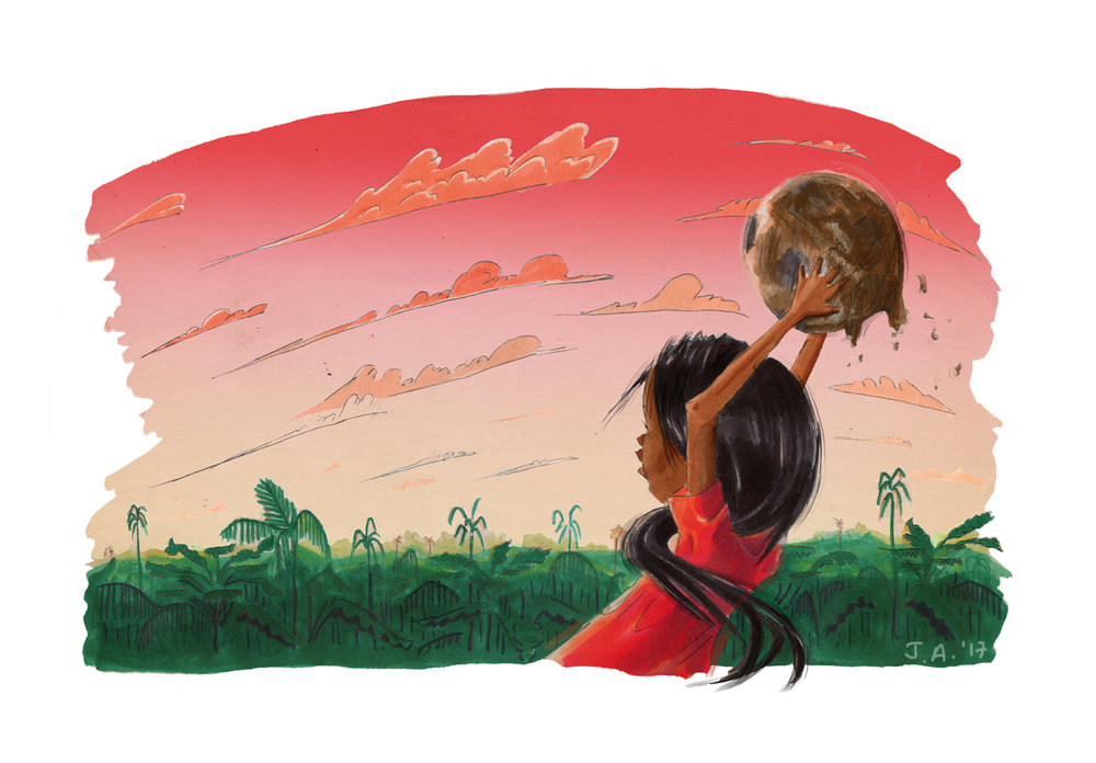 An illustrated girl throws a soccer ball at sunset.
