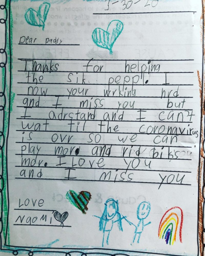 A handwritten note from a six-year-old to her dad that reads: