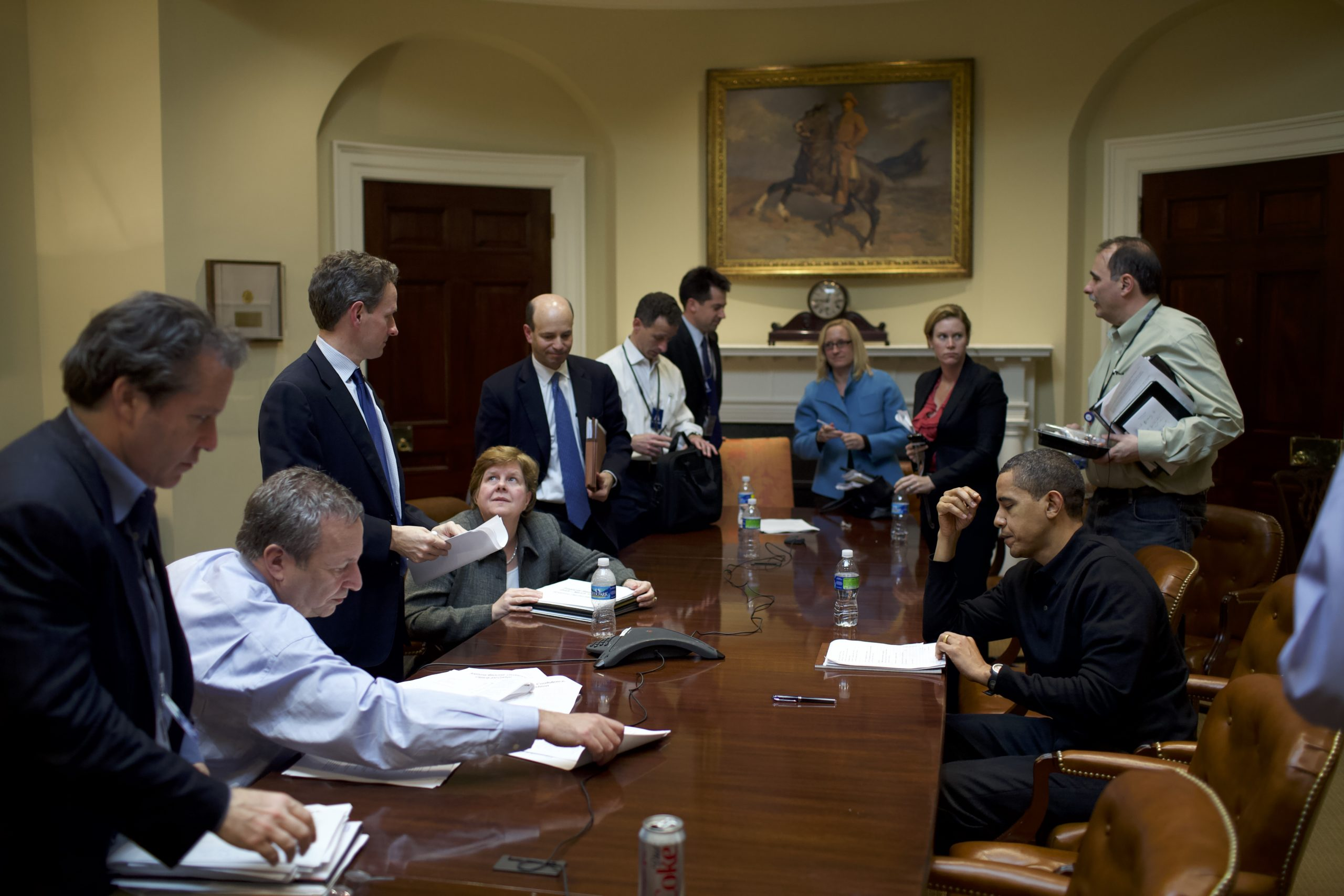 President Obama meets with economic advisors in the Roosevelt Room. March 15, 2009.