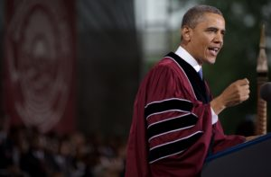 President Barack Obama delivers remarks during the commencement ceremony at Morehouse College in Atlanta, Georgia