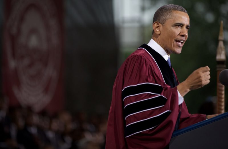 President Obama delivers a commencement address.