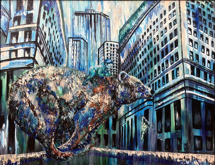 A painting of a girl riding a bear in a cityscape.