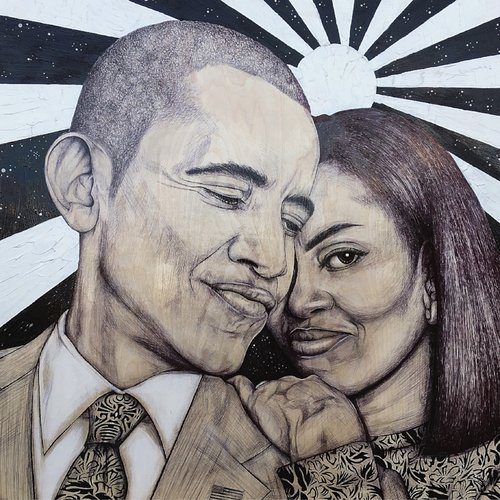 A painting of Barack and Michelle Obama.