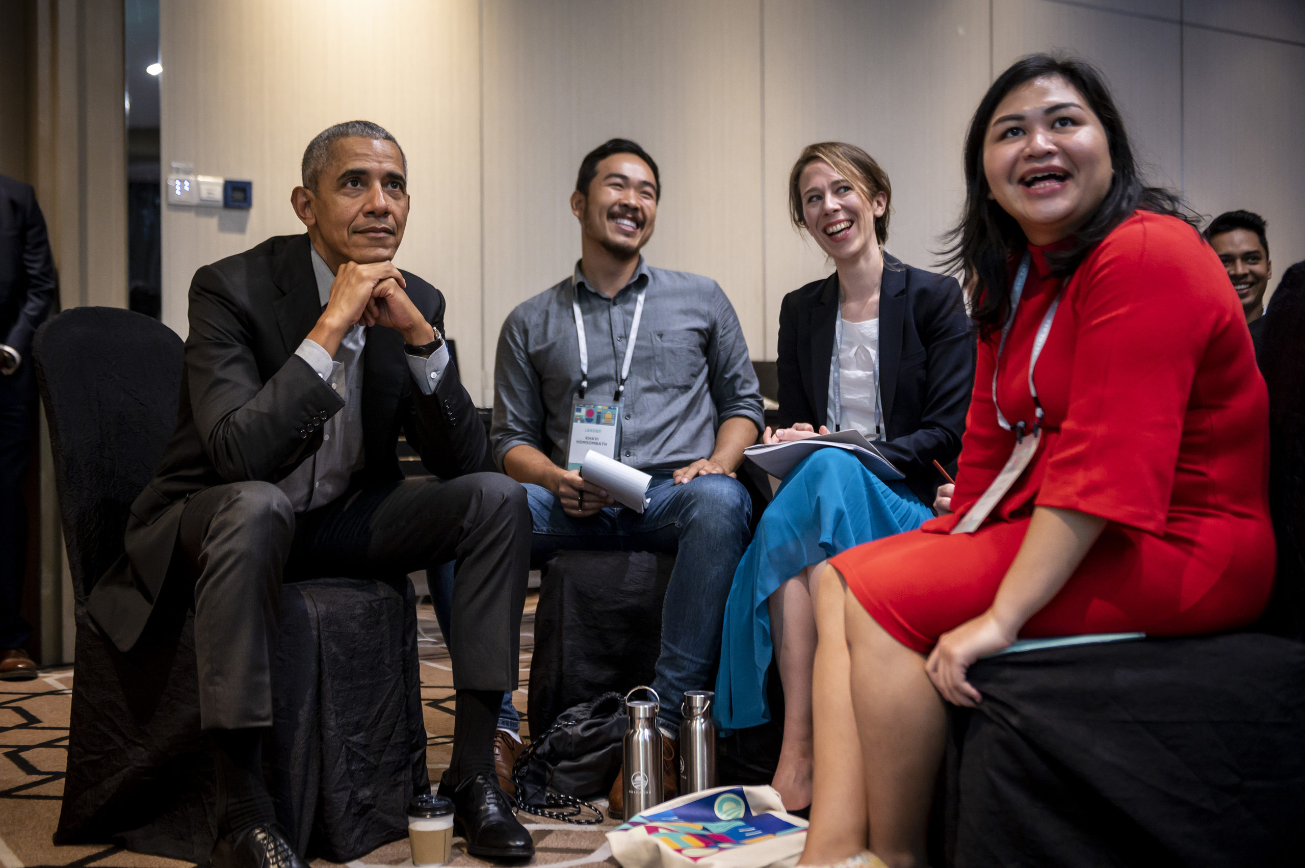 President Obama sits with young leaders.
