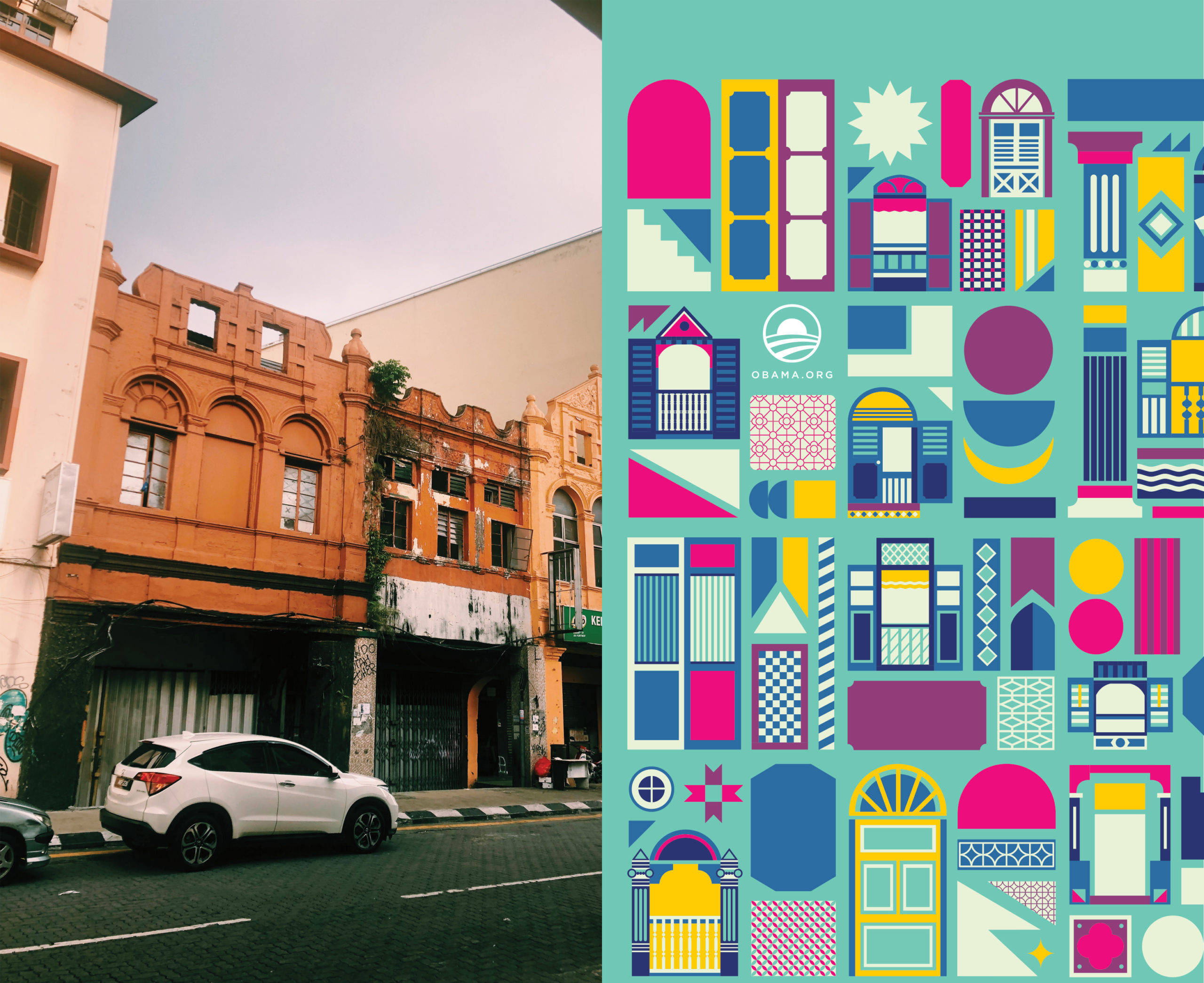 A diptych of a Malaysian street and Valens design.