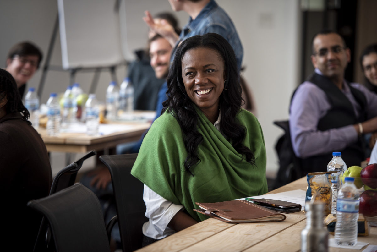 Obama Fellow Dominique Jordan Turner smiles during the first Fellows gathering in May of 2018.