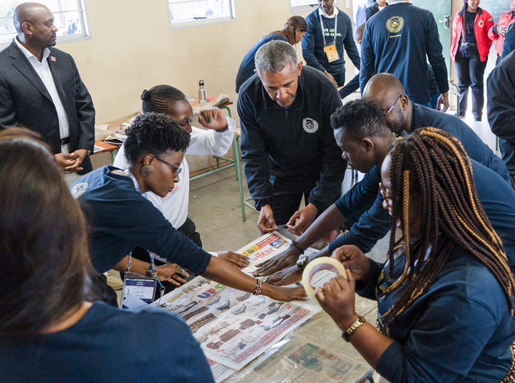 President Obama participates in a service project to commemorate Mandela Day with Obama Foundation Leaders in Johannesburg, South Africa