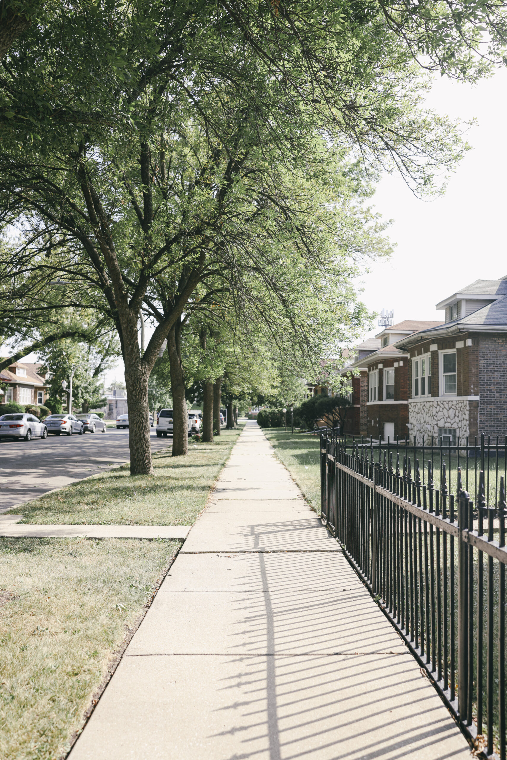 A view of a sidewalk in a neighborhood in Chicago