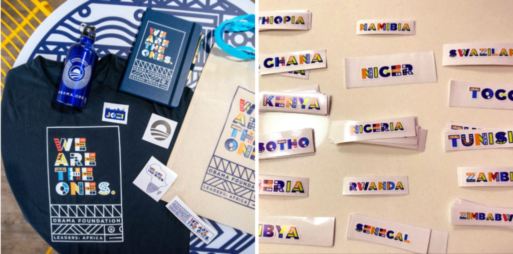 A diptych shows the custom pattern alphabet Osmond Tshuma created for the Leaders: Africa program.