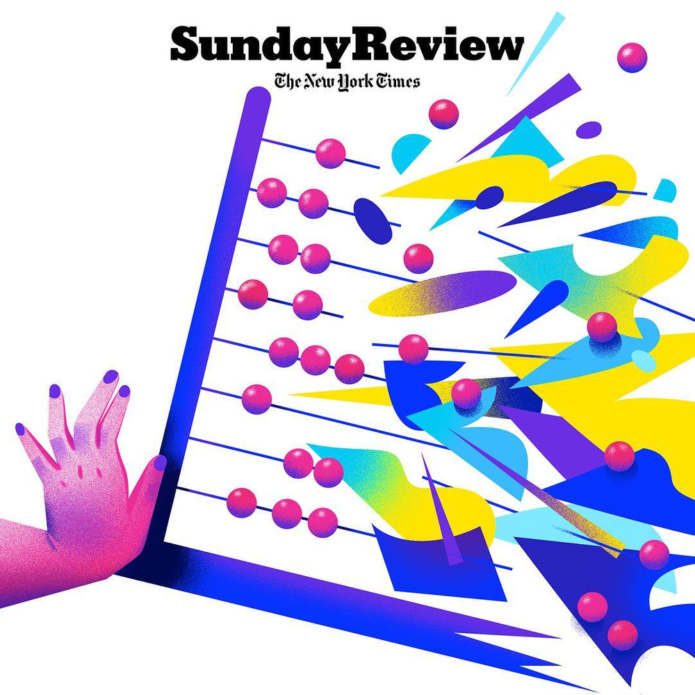 Sunday Review cover with bright illustration.