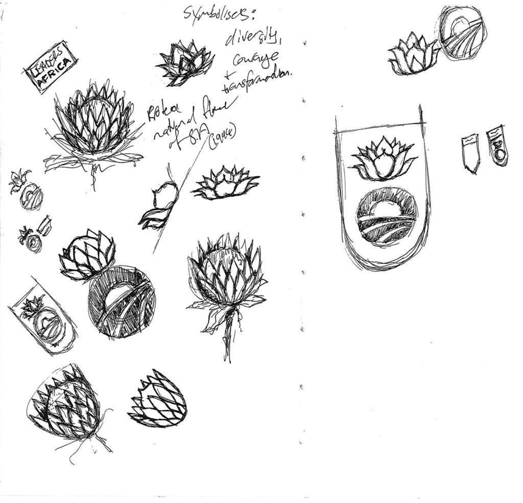 Pencil sketches of the protea flower and the Obama Foundation logo are shown on paper.