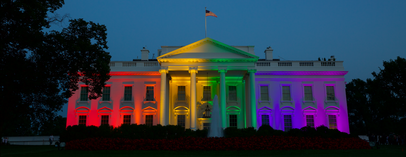 The White House lit in rainbow colors.