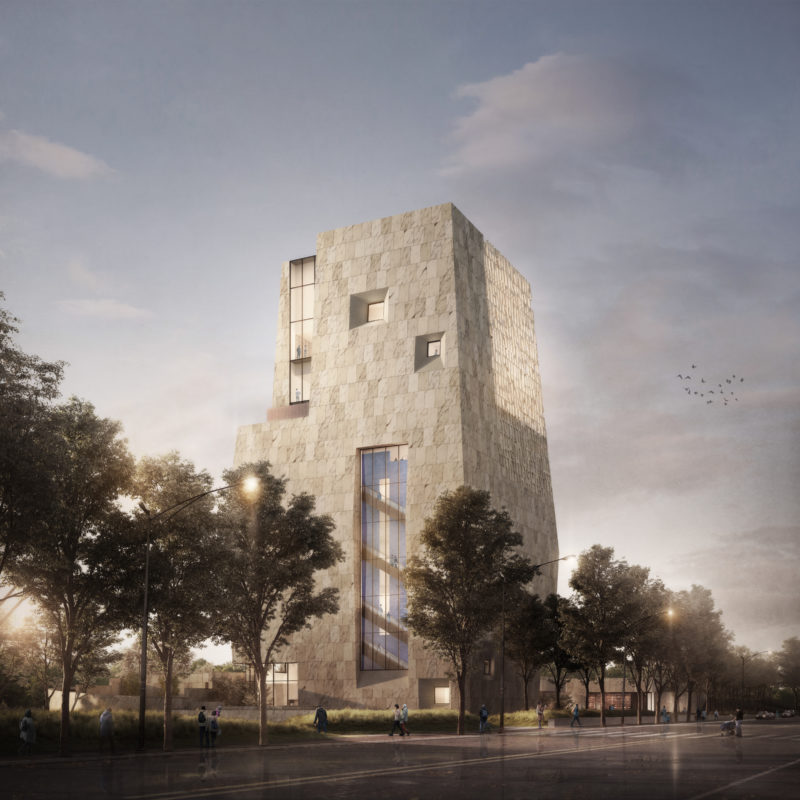 The Obama Presidential Center tower as seen form street level.