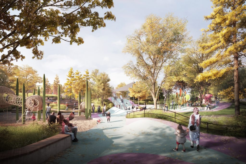 A rendering of the playground at the Obama Presidential Center.