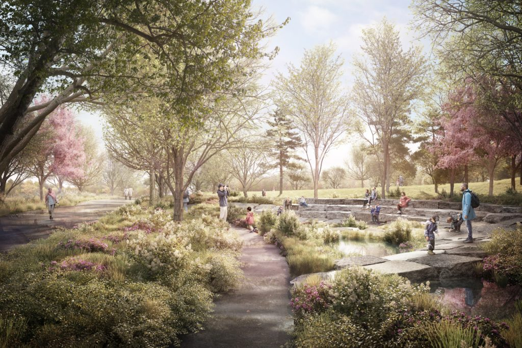 A rendering of the Wetland Walk at the Obama Presidential Center.
