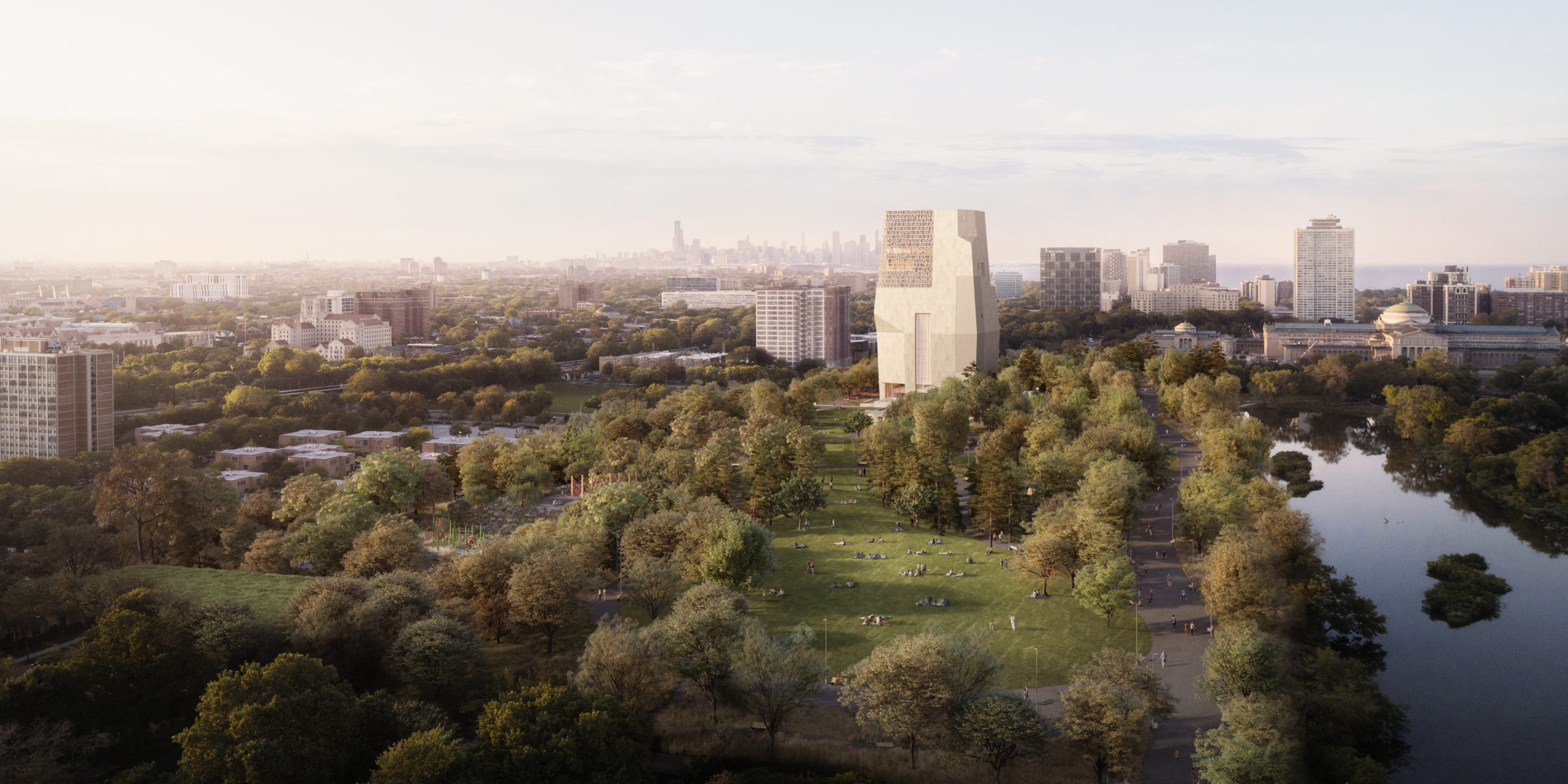 A rendering of the Obama Presidential Center campus.