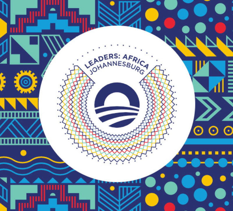 Patterned square with a round Obama Foundation logo in the center that reads Leaders: Africa Johannesburg