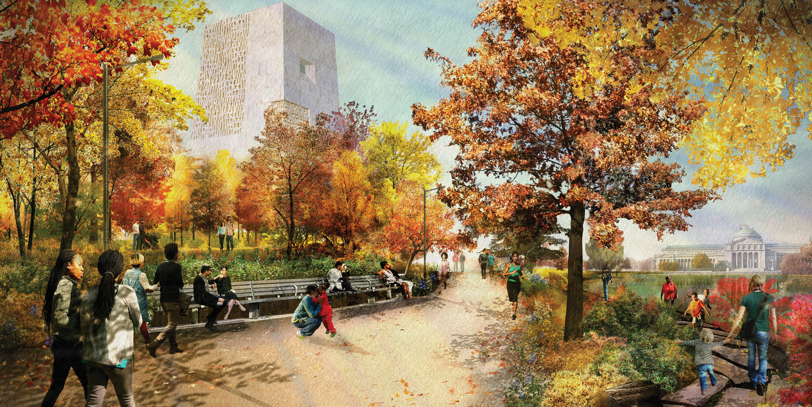 A rendering of the future Obama Presidential Center in the fall.