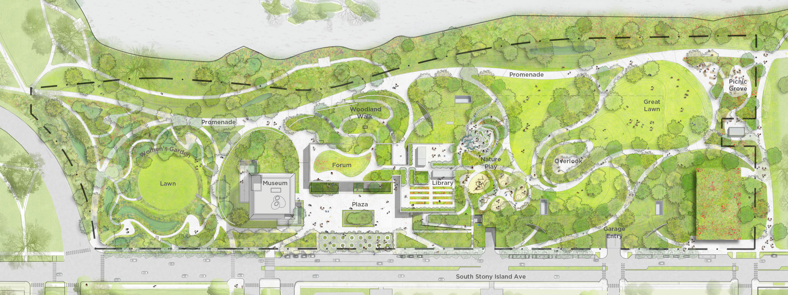 A site plan of the future Obama Presidential Center.