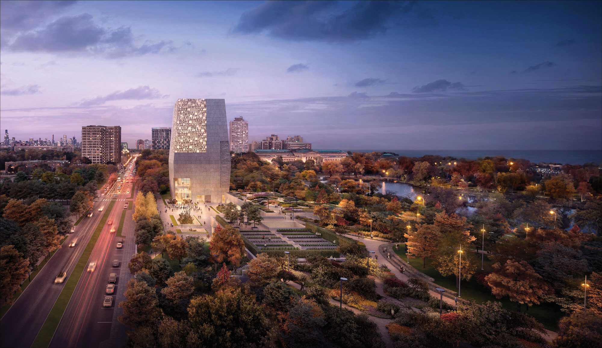 A rendering of the Obama Presidential Center at night.
