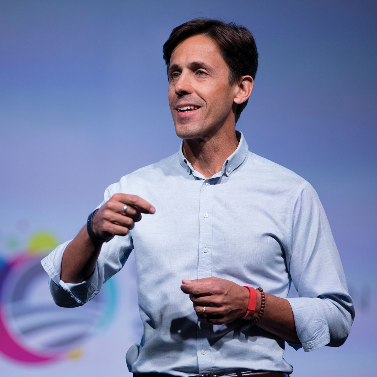 Obama Foundation CEO, David Simas, on stage at the Obama Foundation Summit.
