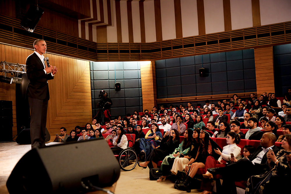 President Obama speaks to young Indian leaders at the Foundation's first Town Hall in New Delhi.