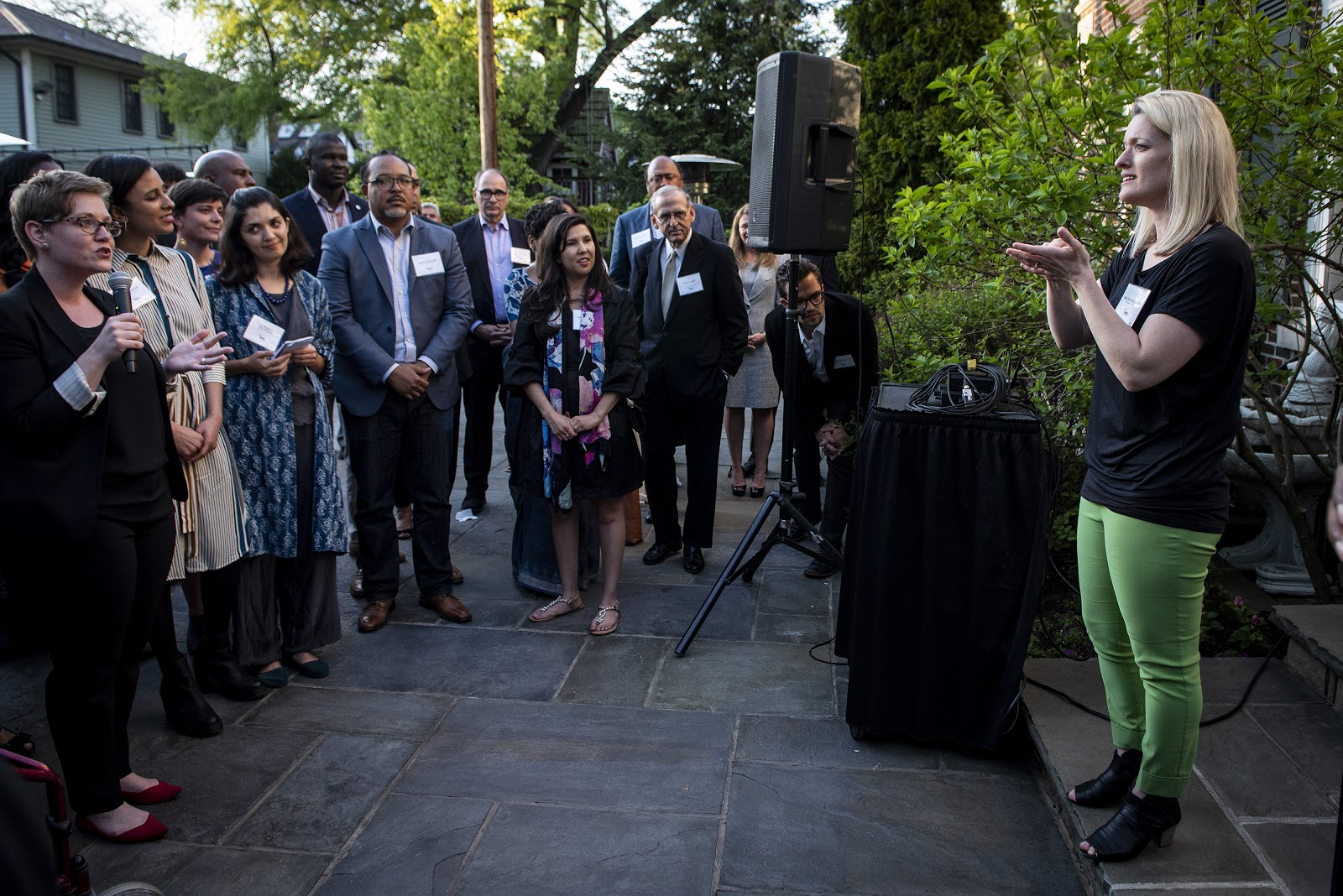 Melissa speaking at a reception of 2018 Obama Fellows