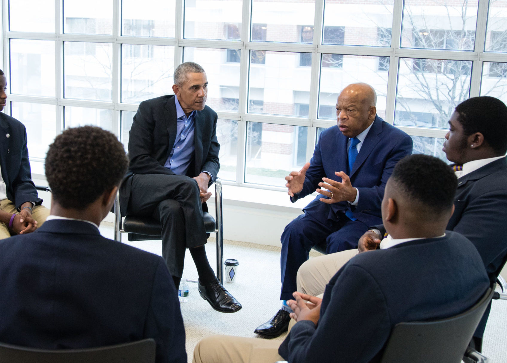 President Barack Obama and Rep. John Lewis (D-GA) host a discussion with Ron Brown College Preparatory High School students at the office of the former president in Washington, DC April 2, 2018. (Photo by Chuck Kennedy)Ron Brown College Preparatory High School students visit the Martin Luther King Jr. Memorial in Washington, DC following a discussion with President Barack Obama and Rep. John Lewis (D-GA) at the office of the former president April 2, 2018. April 4, marks the 50th. anniversary of the assassination of Dr. Martin Luther King, Jr.